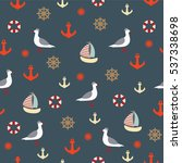seamless pattern with seagulls...