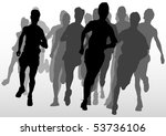 drawing running athlete an.... | Shutterstock . vector #53736106