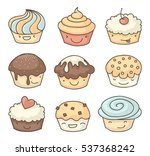 smiling muffins or cupcakes... | Shutterstock . vector #537368242