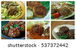 Small photo of Food set of different meatballs . collage.