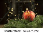 Small photo of New Year's Eve Christmas ball bauble wintertime decoration red sphere hanging adornment classic. Traditional winter ornament happy holidays Merry Xmas event symbol glossy blank