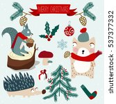 christmas animals | Shutterstock .eps vector #537377332
