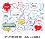set of speech bubbles with... | Shutterstock .eps vector #537385066