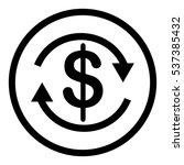 dollar icon in circle on white...
