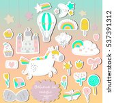 vector set of cute little... | Shutterstock .eps vector #537391312