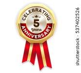 green celebrating 5 years badge ... | Shutterstock .eps vector #537402526