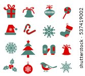 set of  christmas symbols.... | Shutterstock .eps vector #537419002