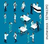 set isometric doctors hospital... | Shutterstock .eps vector #537461392