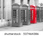 five red london telephone boxes ... | Shutterstock . vector #537464386