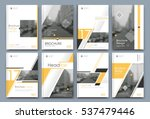 Abstract binder layout. White a4 brochure cover design. Fancy info text frame. Creative ad flyer font. Title sheet model set. Modern vector front page. Elegant city banner. Yellow  figures icon fiber | Shutterstock vector #537479446