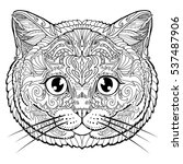 british cat face doodle... | Shutterstock .eps vector #537487906