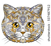British Cat Face Doodle...