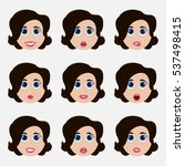 set of cute girl emoticons.... | Shutterstock .eps vector #537498415