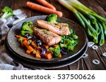 fried salmon steaks with... | Shutterstock . vector #537500626