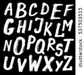 grunge alphabet   white chalk... | Shutterstock .eps vector #537503515