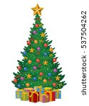 christmas tree decorated by...   Shutterstock .eps vector #537504262