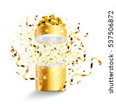 golden gift with stars and... | Shutterstock .eps vector #537506872