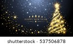 greeting card golden christmas... | Shutterstock .eps vector #537506878