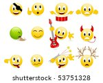 set of cool smiles. vector... | Shutterstock .eps vector #53751328