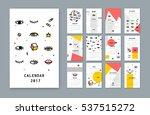 calendar template for 2017... | Shutterstock .eps vector #537515272