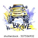 hand drawn card with  big car...   Shutterstock . vector #537536932