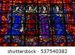 Small photo of Sing Alleluia: September 12, 2015, Mission Dolores San Francisco. Four musical angels decorated one of the stain glass windows of the Basilica.