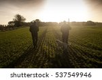 two hunters and a hunting dog...   Shutterstock . vector #537549946