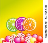 Selection of lolly pops and sweets on a citrus coloured background