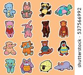 collection of plush toys... | Shutterstock .eps vector #537566992