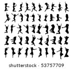 50 vector silhouettes woman | Shutterstock .eps vector #53757709