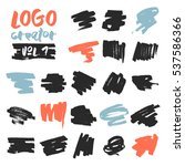 set of 21 unique ink sketched... | Shutterstock .eps vector #537586366