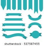 teal blue color ribbon banner... | Shutterstock .eps vector #537587455