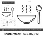 bowl of soup vector line icon... | Shutterstock .eps vector #537589642