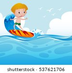 boy surfing on the wave...   Shutterstock .eps vector #537621706