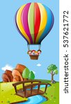 kids riding balloon over the... | Shutterstock .eps vector #537621772