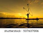 silhouette of fisherman... | Shutterstock . vector #537637006