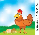 chicken with egg on the meadow... | Shutterstock .eps vector #537638566