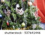 cat on christmas tree. naughty... | Shutterstock . vector #537641446