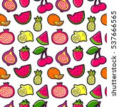 seamless pattern with fashion... | Shutterstock . vector #537666565