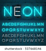 turquoise neon light alphabet ... | Shutterstock .eps vector #537668146