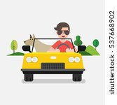 driver with car and dog | Shutterstock .eps vector #537668902