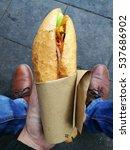 baguette bread with vegetable... | Shutterstock . vector #537686902