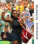 Small photo of RIO DE JANEIRO, BRAZIL - AUGUST 7, 2016: Olympic champion Serena Williams of United States celebrates victory after singles first round match of the Rio 2016 Olympic Games at the Olympic Tennis Centre