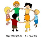 children in circle   vector | Shutterstock .eps vector #5376955
