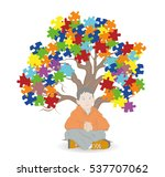 child sitting under a tree.... | Shutterstock .eps vector #537707062