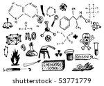 chemistry hand drawn symbols - stock vector