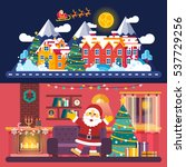 flat christmas village... | Shutterstock .eps vector #537729256