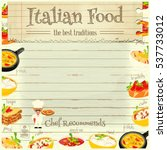 italian food menu card with... | Shutterstock .eps vector #537733012
