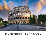 Colosseum In Rome At Sunset...