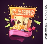 sparkling casino with cards... | Shutterstock . vector #537737422
